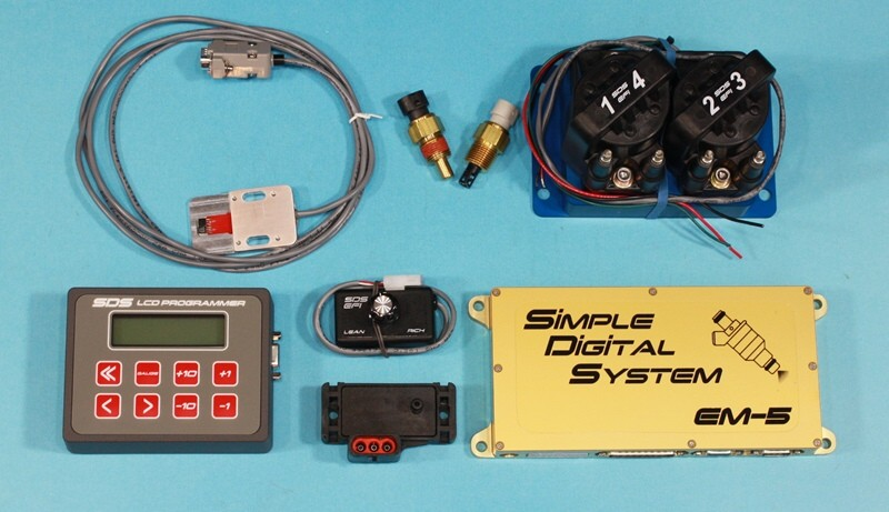 basic components of distributorless em-5 4f system shown with billet coil  pack